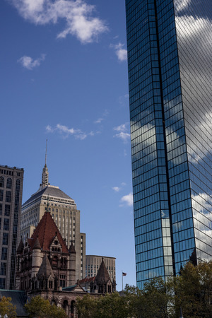 Tower looming over trinity church in Boston Massachusetts architecture