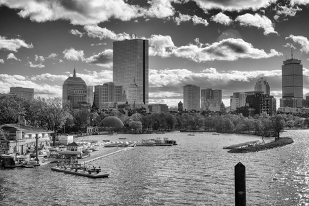 Black and white photo of boston skyline across the charles river Stock Photo