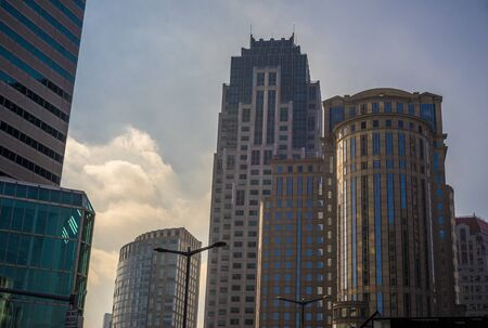 Buildings near south station in the financial distristric in Boston Massachusetts Stock Photo