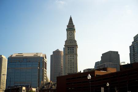custom house clock tower in Boston Massachusetts Stock Photo