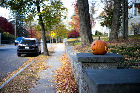 Halloween pumpkin trick or treating on stoop