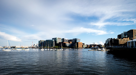 View of Moakley courthouse in seaport district boston harbor Stock Photo