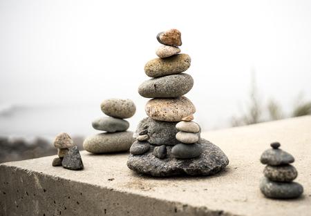 Zen stone balance rock arrangement relaxation calm Stock Photo