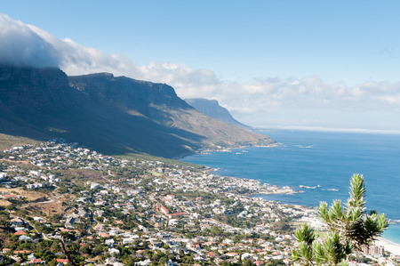 View of Cape Town South Africa from Table mountain ocean city Stock Photo
