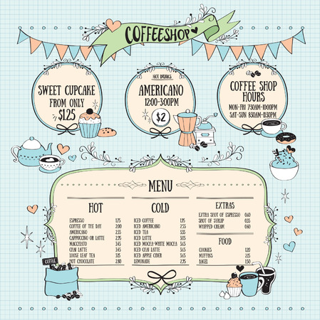 Set of ribbons and labels, coffee shop icons. Vector illustration.