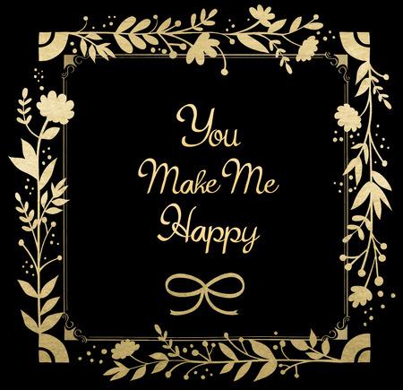 vintage gold frame: Vintage gold frame. Congratulations card. Vector illustration.
