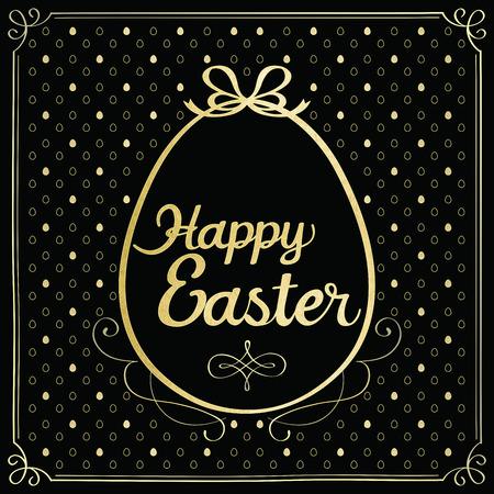 Golden easter egg - Greeting card. Vector illustration.