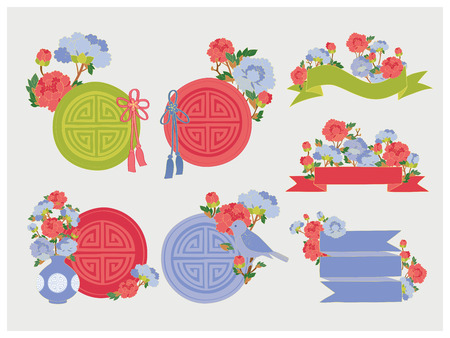 Oriental Labels with Spring Flowers. Ribbon & Sticker. Vector illustration.