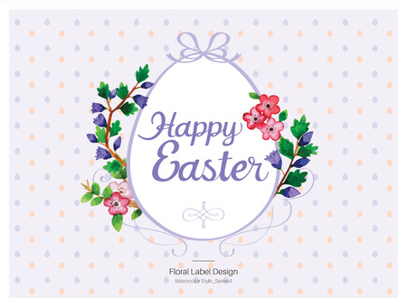 Happy Easter Floral label design - Watercolor style. Vector illustration. Ilustrace