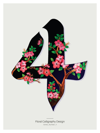 Floral Calligraphy design - Number four. Vector Illustration.