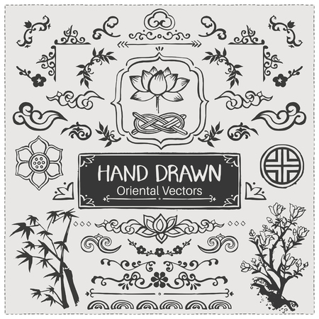 Set of hand drawn oriental brushes. Vintage frame, oriental decorations. Vector illustration.