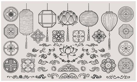Set of hand drawn oriental elements. Asian Lanterns and traditional patterns. Vector illustrations. Ilustrace