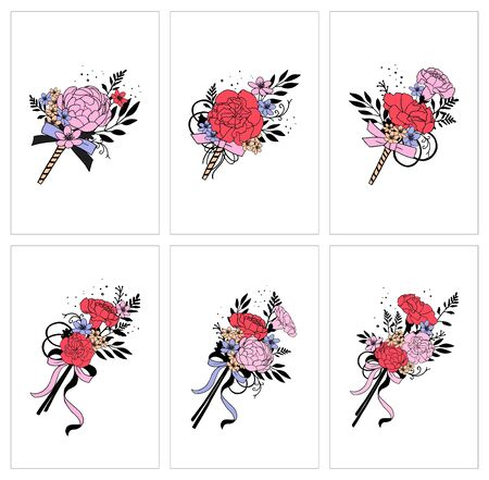 Set of bouquets. Red, pink flowers. Carnation, peony. Hand draw vector illustrations. Ilustrace
