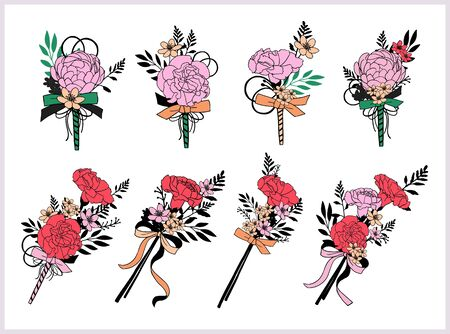Set of bouquets. Red, pink flowers. Carnation, peony. Hand draw vector illustrations. Illustration