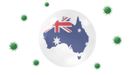 Australia map inside crystal ball protect from corona virus,stay at home,work for home, overcome virus outbreak,virus protection concept,on white background, isolate Stock Photo