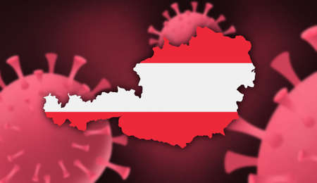 Austria map with flag pattern on  corona virus update on corona virus background, space for add text,information,report new case,total deaths,new deaths,serious critical,active cases