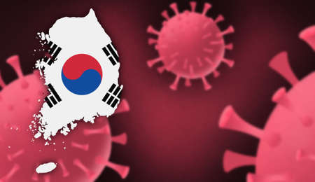 South Korea map with flag pattern on  corona virus update on corona virus background, space for add text,information,report new case,total deaths,new deaths,serious critical,active cases