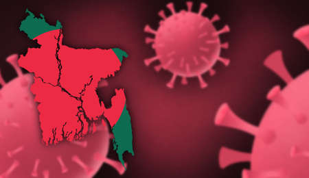 Bangladesh map with flag pattern on  corona virus update on corona virus background, space for add text,information,report new case,total deaths,new deaths,serious critical,active cases