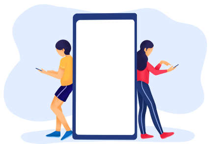 Men and women  stand and lean on big smartphone, reading online news,people news phone concept  Reklamní fotografie