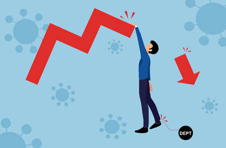 Businessman climbing  the falling graph with pendulum with message 'debt',  covid-19 or coronavirus outbreaks background, global  business crisis and recession  concept, vector illustration