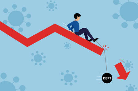 Businessman sliding down on the falling graph with pendulum with message 'debt' ,covid-19 or coronavirus outbreaks background, global  business crisis and recession  concept, vector illustration Stockfoto - 148125660