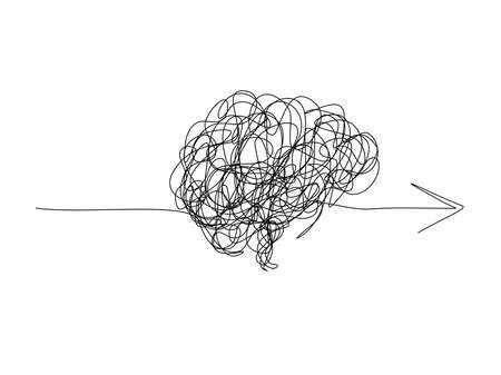 Mental health ,brain development medical treatment concept, messy line in a shape of brain with arrows, complicated string try to go in the same direction , vector illustration