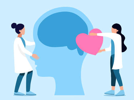 Mental health ,brain development  medical treatment concept, doctors  work together to set up heart to brain of human head, setting  good mindset and attitude on blue   background , vector  illustrati Illustration