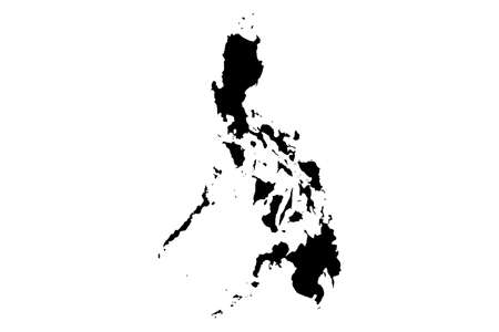 Philippines  map with gray tone on  white background,illustration,textured , Symbols of Philippines,vector illustration Vectores