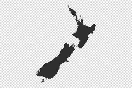 New Zealand map with gray tone on   png or transparent  background,illustration,textured , Symbols of  New Zealand,for advertising ,promote, ,vector illustration Stock Illustratie