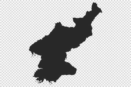 North Korea map with gray tone on   png or transparent  background,illustration,textured , Symbols of North Korea,vector illustration