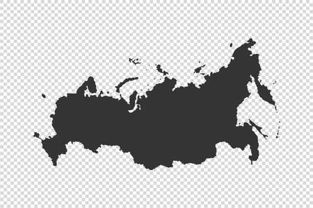 Russia  map with gray tone on   png or transparent  background,illustration,textured , Symbols of Russia,vector illustration
