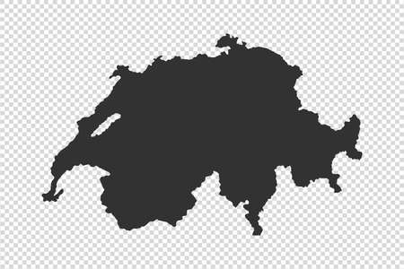 Switzerland map with gray tone on   png or transparent  background, illustration,textured, Symbols of Switzerland, vector illustration