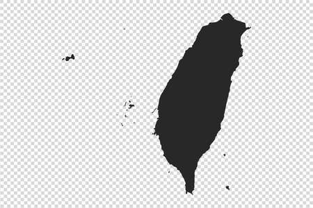 Taiwan map with gray tone on   png or transparent  background, illustration, textured, Symbols of Taiwan, vector illustration