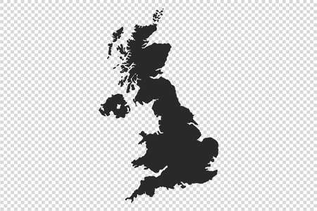 UK or England map with gray tone on  png or transparent  background, illustration, textured, Symbols of UK or England, vector illustration Stock Illustratie