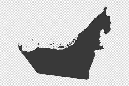 United Arab Emirates map with gray tone on png or transparent  background, illustration,textured, Symbols of United Arab Emirates, vector illustration