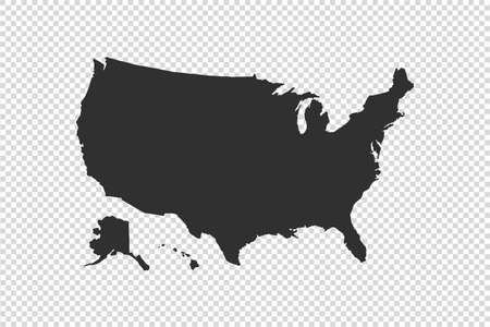 USA map with gray tone on png or transparent  background, illustration, textured , Symbols of USA, vector illustration