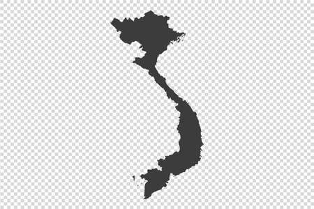 Vietnam map with gray tone on   png or transparent  background,illustration,textured , Symbols of Vietnam,vector illustration