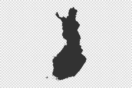 Finland  map with gray tone on   png or transparent  background,illustration,textured , Symbols of Finland,vector illustration