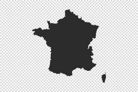 France  map with gray tone on   png or transparent  background, illustration, textured, Symbols of France, vector illustration