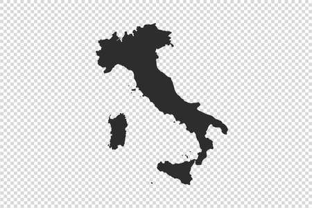 Italy map with gray tone on   png or transparent  background,illustration,textured , Symbols of Italy,vector illustration  イラスト・ベクター素材