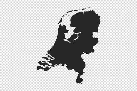 Netherlands  map with gray tone on   png or transparent  background,illustration,textured , Symbols of Netherlands,vector illustration