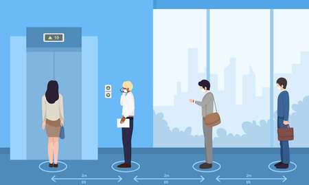 Social distancing in working  space, Office employees keep distance, health protection concept,cover mouth to prevent virus,pollution, vector illustration