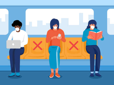 Safe travels under Covid-19, one men working on notebook, two women holding phone and reading book wearing medical mask sitting on subway, use public transport, keep distance for 2 centimeters, vector