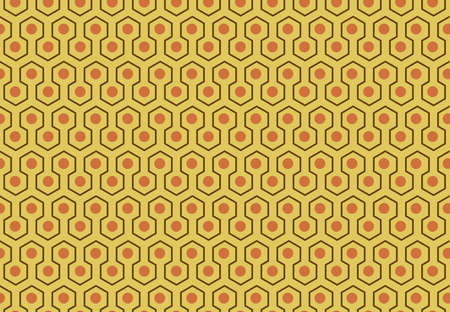 Abstract geometric pattern with dots on yellow  background, Honeycomb and Hexagon seamless infinity textures, for clothing, products, advertising  vector illustration Stock Illustratie