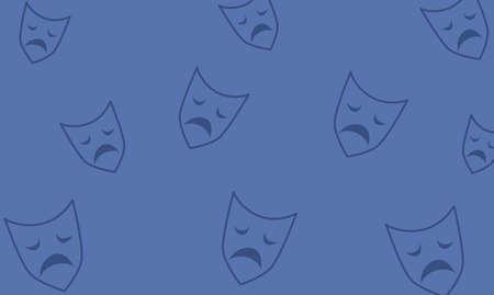 Sad mask on blue  background, Mental health, illness ,brain development ,medical treatment  concept, sad and unhappy face, vector illustration