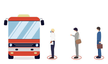 Social distancing, People wearing medical mask wait in line for bus   , keep distance for 2 centimeters, health protection, new normal,vector illustration