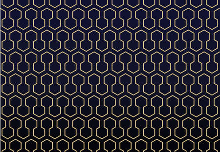 Golden abstract geometric pattern on dark blue  background, Honeycomb and Hexagon seamless infinity textures, for clothing, products, advertising  vector illustration