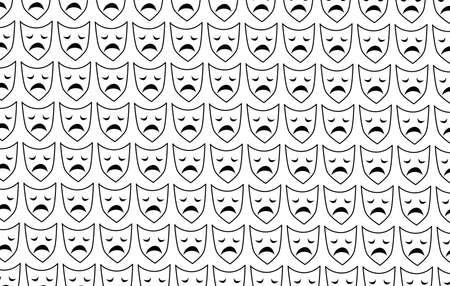 Sad mask on white background, Mental health, illness ,brain development ,medical treatment  concept, sad and unhappy face, vector illustration Stock Illustratie