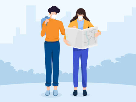 Safe travels under Covid-19, men pointing map, women holding map , wearing medical mask, use public transport, keep distance for 2 centimeters, vector illustration