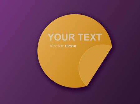 Yellow label with text  YOUR TEXT on purple background,promotion season, decrease price, price tag   vector illustration Stock Illustratie